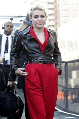 Miley Cyrus Black Leather Jacket