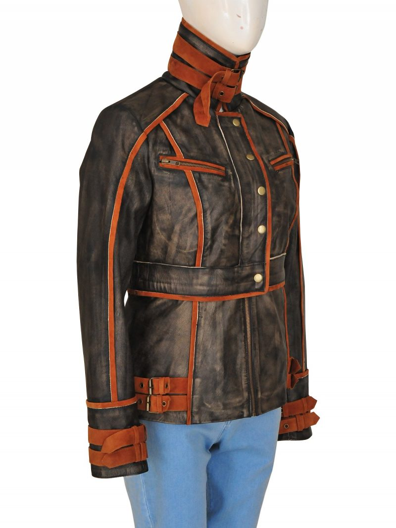 Jessica Biel Melina Total Recall Brown Leather Jacket