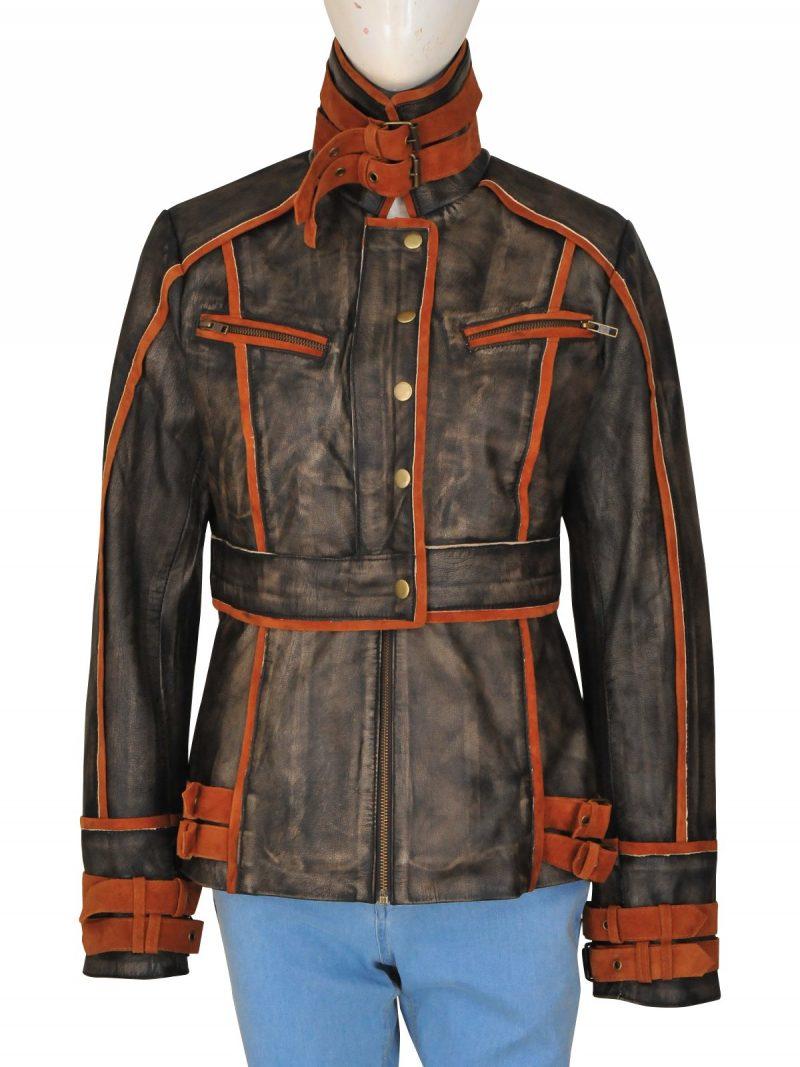 Jessica Biel Total Recall Brown Leather Jacket