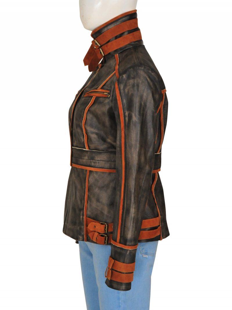 Jessica Biel Total Recall Brown Jacket