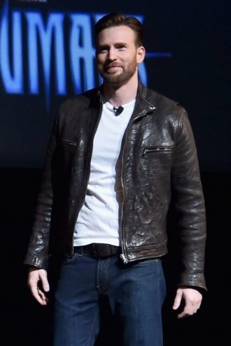 Captain America Chris Evans Brown Leather Jacket