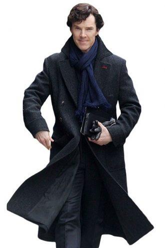 Sherlock Holmes Black Trench Coat