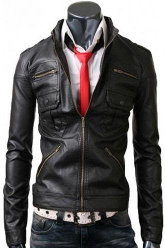 Zip Pocket Mens Slim Fit Black Leather Jacket