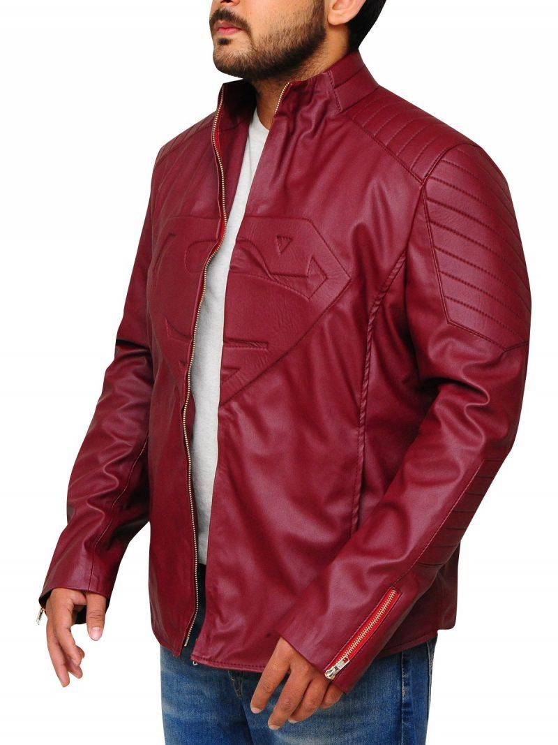 Superhero Superman Smallville Maroon Leather Jacket