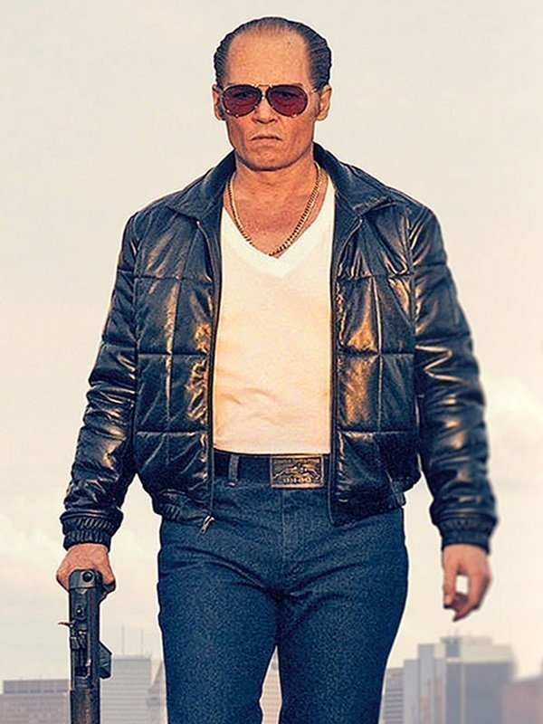 Johnny Depp Black Mass Black Leather Bomber Jacket