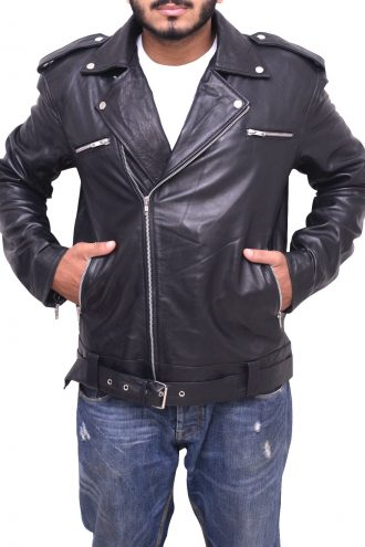 Men Brando Biker Black Jacket