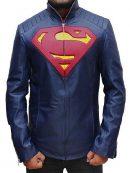 Superman Man of Steel Midnight Blue Leather Jacket