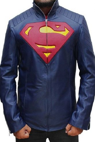 Superman Man of Steel Midnight Blue Leather Jacket
