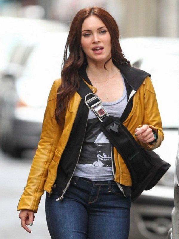 Elegant Megan Fox Yellow Jacket