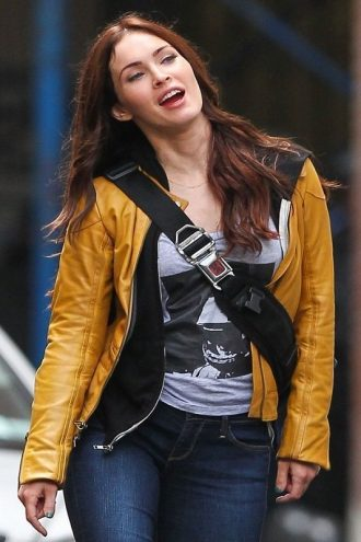 Megan Fox Yellow Leather Jacket