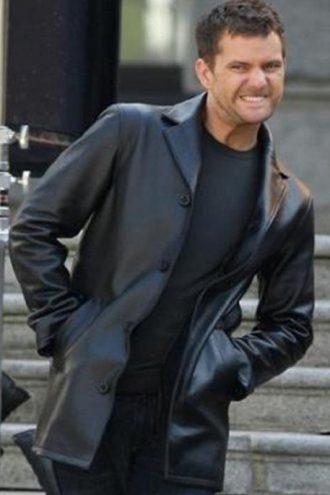 Fringe Joshua Jackson Black Leather Coat