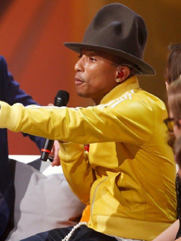 American Rapper Pharrell Williams Stripe Yellow Jacket