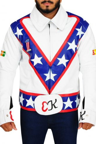 Evel Knievel Motorcycle White Leather Jacket