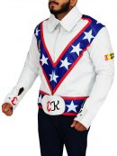 Evel Knievel Daredevil White Motorcycle Leather Jacket