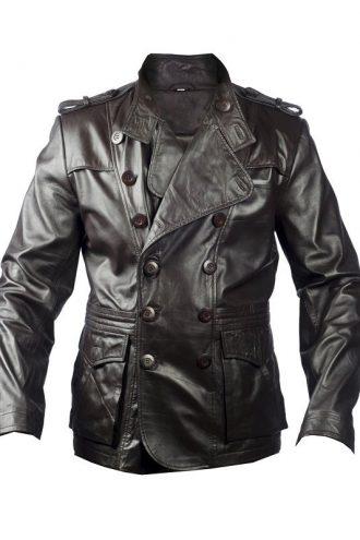 Slick Strut Men Brown Leather Blazer