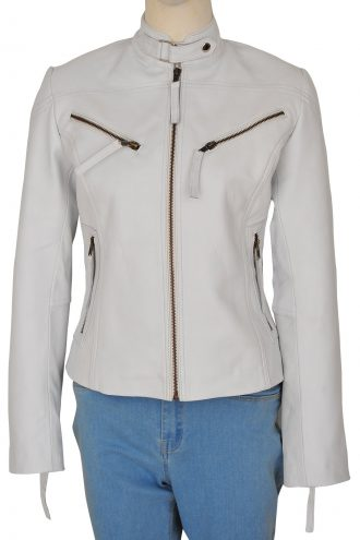 Stylish Womens White Moto Biker Leather Jacket