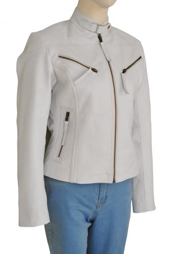 Stylish Womens White Biker Leather Jacket