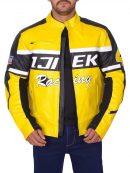 Chuck Greene Yellow Moto Biker Leather Jacket
