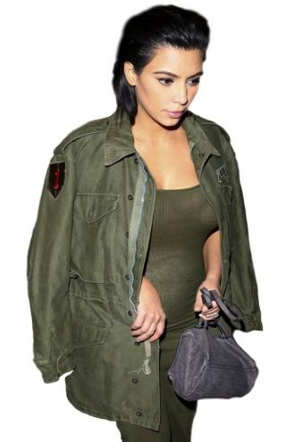 Kim Kardashian Army Green Women's long Jacket