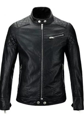 Men Skull Moto Biker Leather Jacket