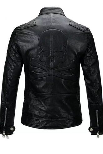 Men Skull Biker Leather Jacket