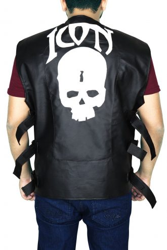 Mens Skull Icon Biker Leather Vest