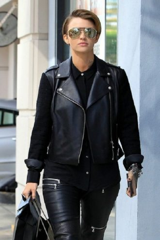 Model Ruby Rose Black Leather Jacket