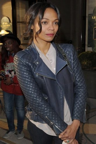 Zoe Saldana Quilted Design Jacket
