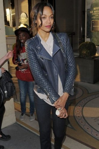 American Actress Zoe Saldana Quilted Design Jacket