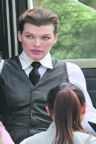 Milla Jovovich Brown Leather Vest