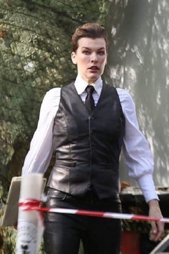 Milla Jovovich Leather Vest