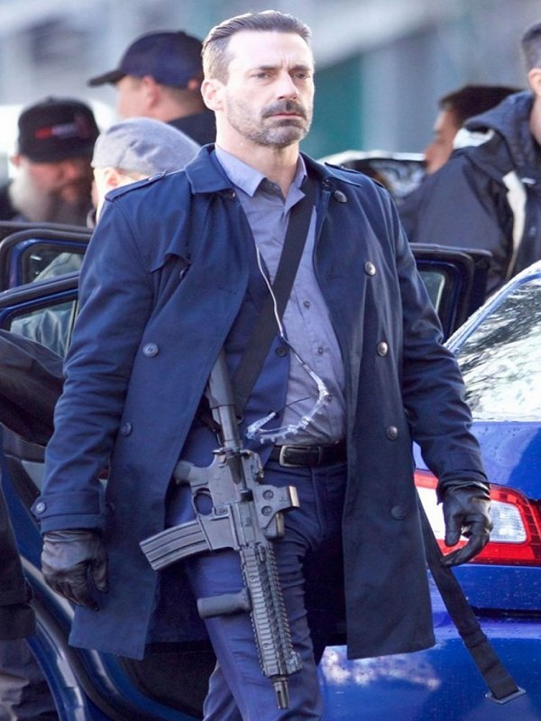 Baby Driver Jon Hamm Stylish Blue Coat