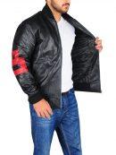 Mens Black 8 Ball Bomber Leather Jacket