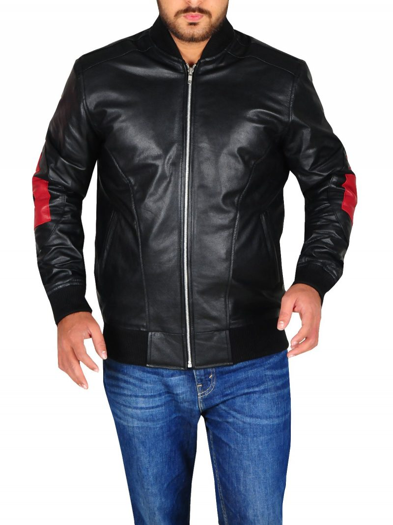 Black 8 Ball Mens Leather Jacket