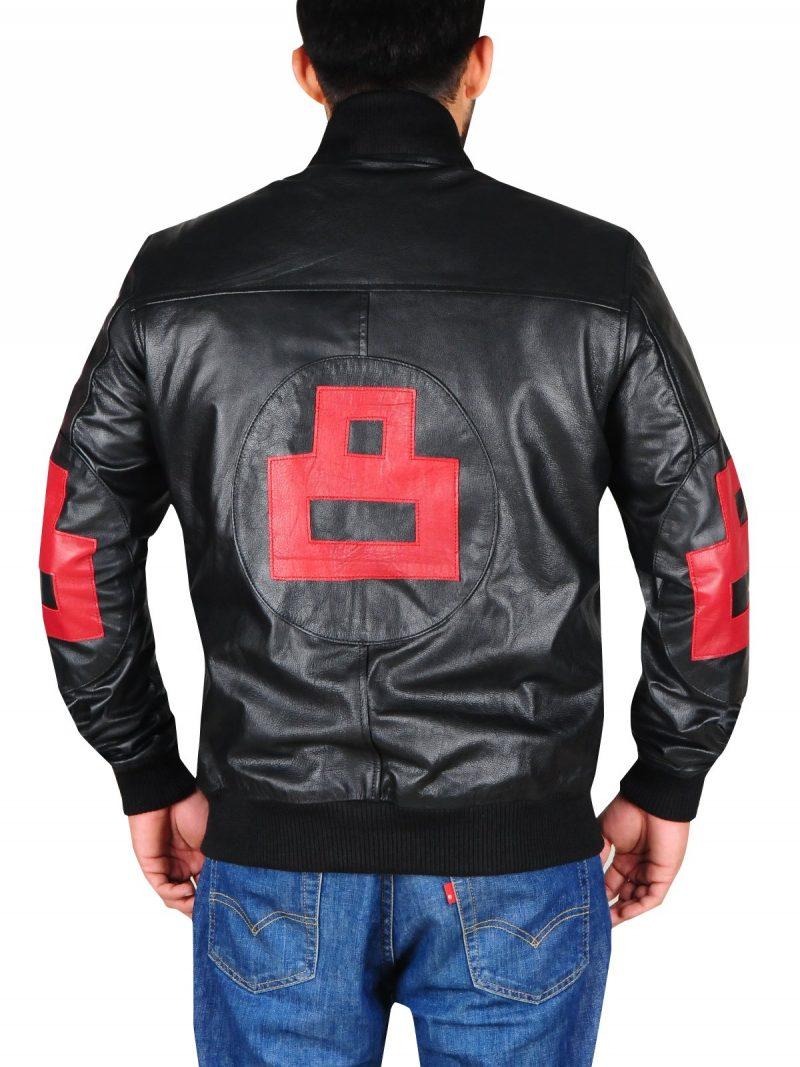 Black 8 Ball Mens Bomber Leather Jacket