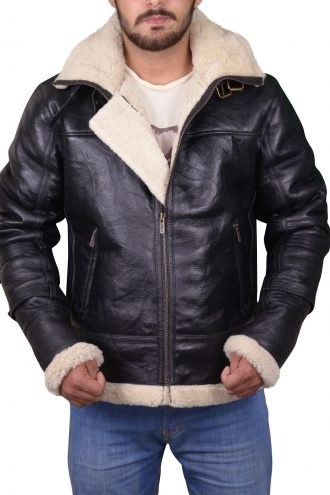B3 Bomber Removable Hood Leather Jacket