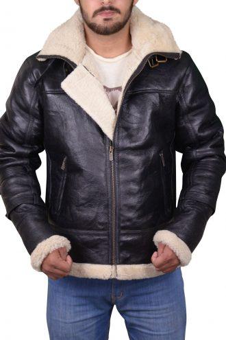 B3 Bomber Removable Hood Leather Jacket