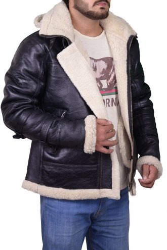 Men B3 Bomber Hooded Fur Jacket