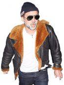 Nicolas Cage Pilot Fur Leather Jacket