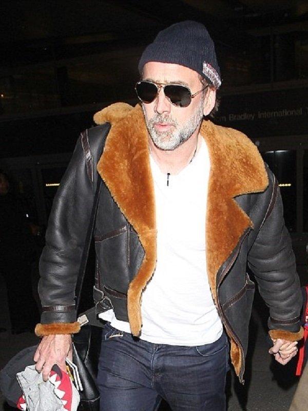 Nicolas Cage Fur Leather Jacket