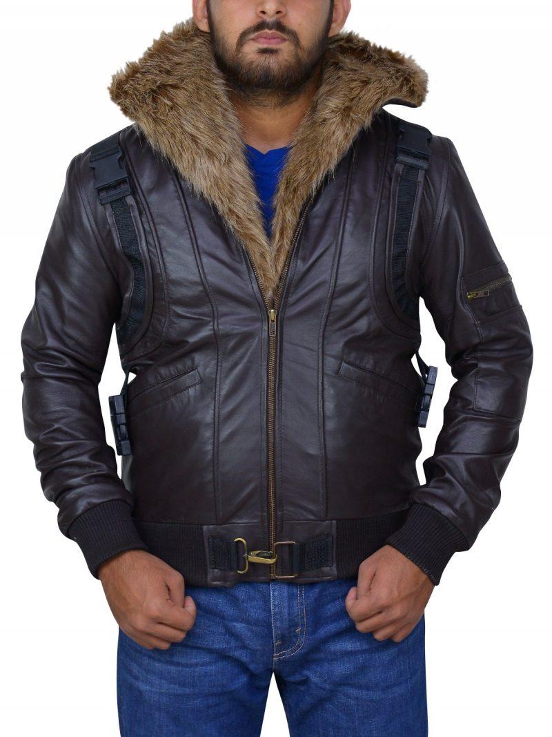 Michael Keaton Spiderman Leather Fur Jacket