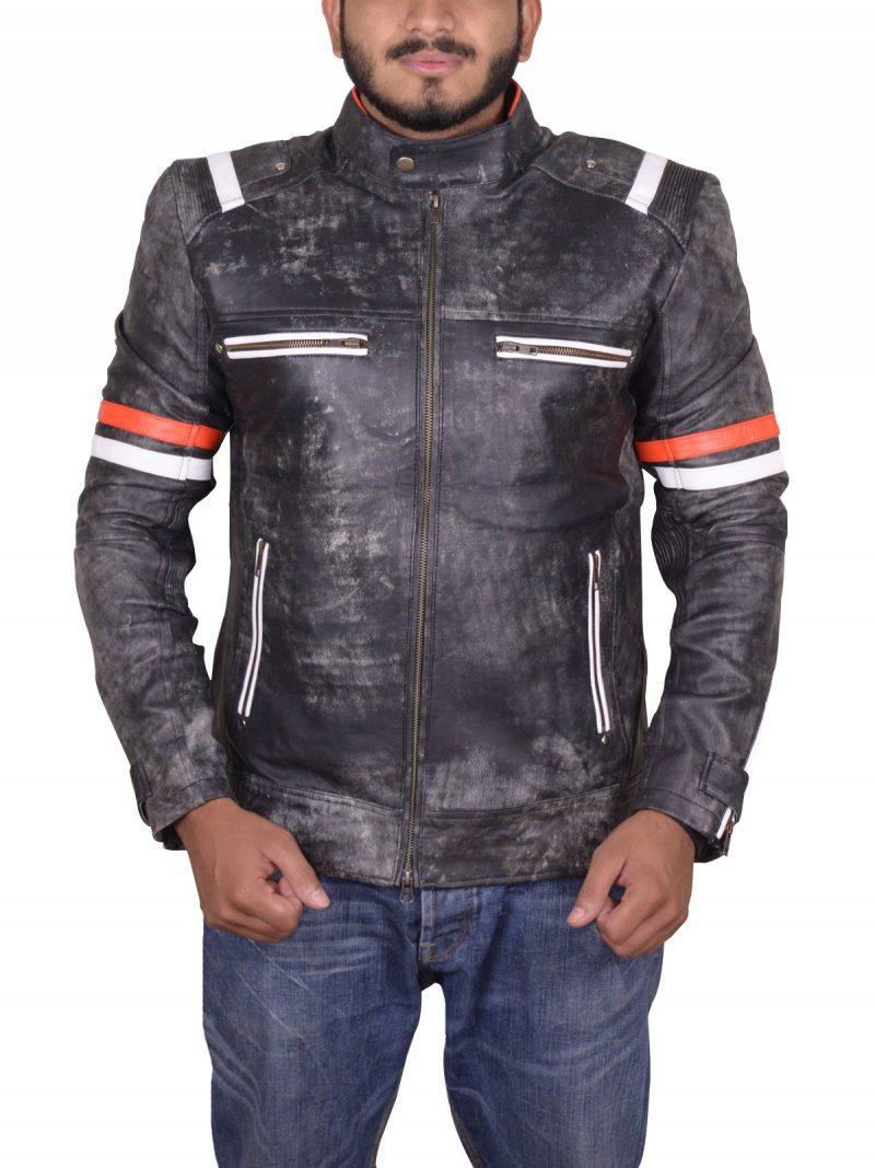 Cafe Racer Retro Moto Leather Jacket