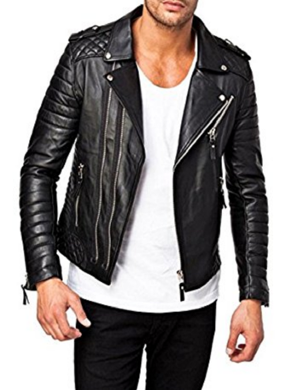 Men Moto Style Quilted Biker Jacket
