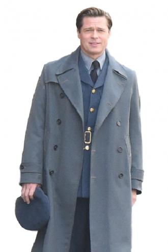 Brad Pitt Allied Stylish Long Coat