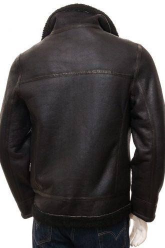 Men's Sheepskin Bomber Black Jacket