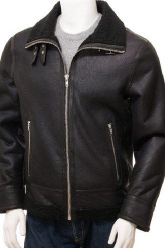 Black Sheepskin Bomber Jacket For Men
