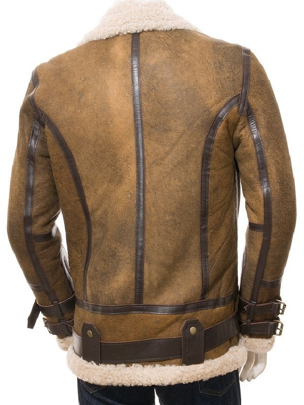 Aviator Shearling Brown Leather Jacket