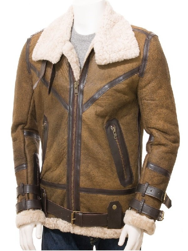 Men Aviator Shearling Sheepskin Leather Jacket