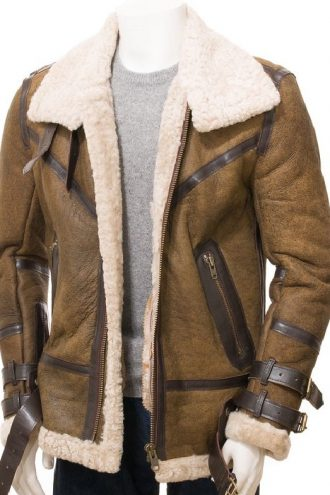 Men Sheepskin Shearling Leather Jacket
