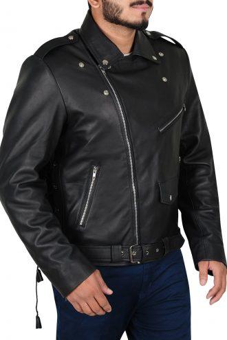 Mens Brando Motorcycle Black Jacket